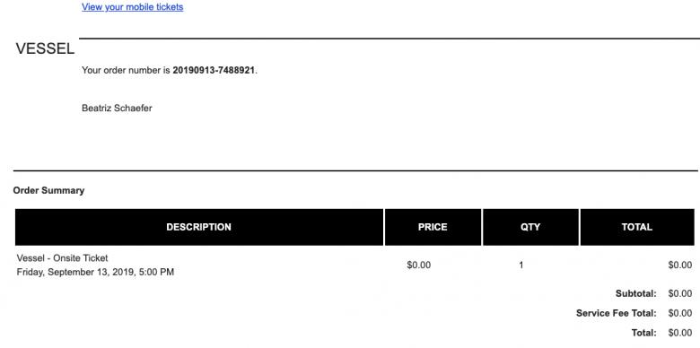 Print do email de confirmação de solicitação de ingressos.