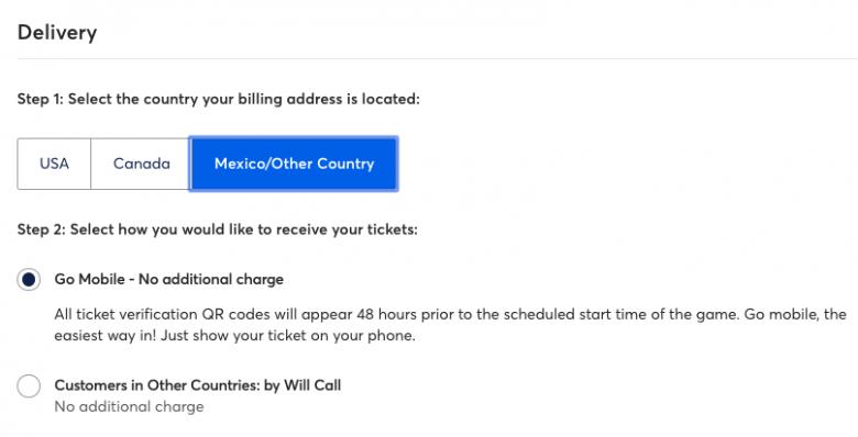 print do site Ticketmaster explicando opções de entrega dos ingressos.