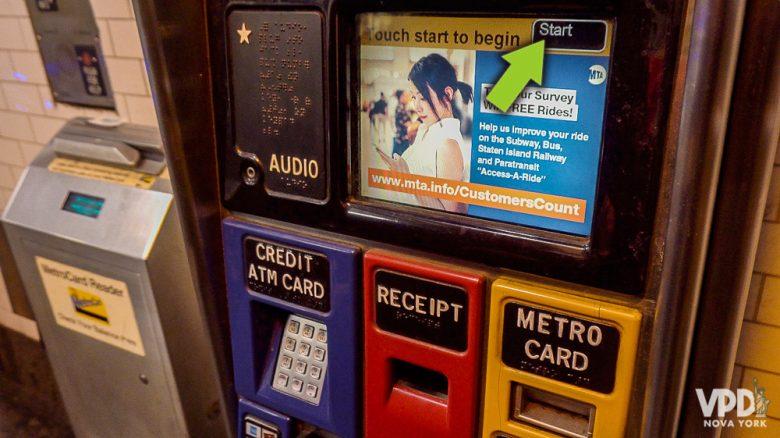 Como comprar metrocard - etapa 1 - Flecha indicando onde clicar para começar