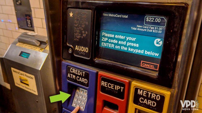Como comprar metrocard - Flecha indicando onde digitar o zip code