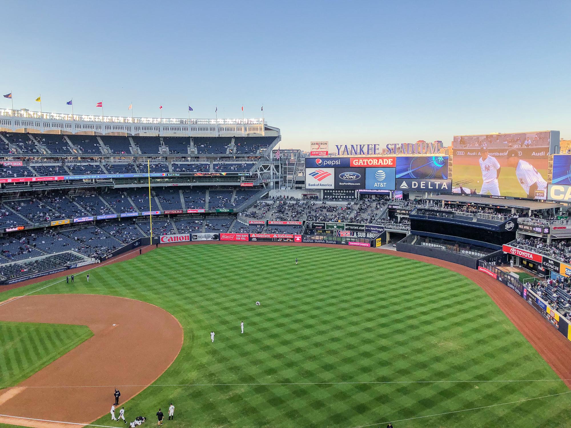 Foto do estádio dos Yankees em Nova York, onde acontecem os jogos de baseball