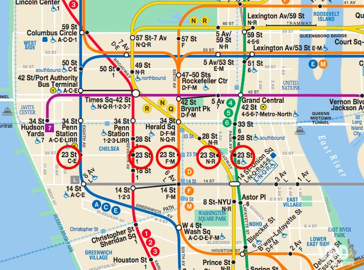 Mapa do metrô mostrando as estações com nomes iguais.