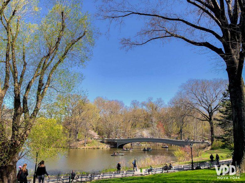 Foto do Central Park, um dos locais por onde você pode fazer um tour de graça. É possível ver uma ponte, as árvores de outono e o céu azul ao fundo