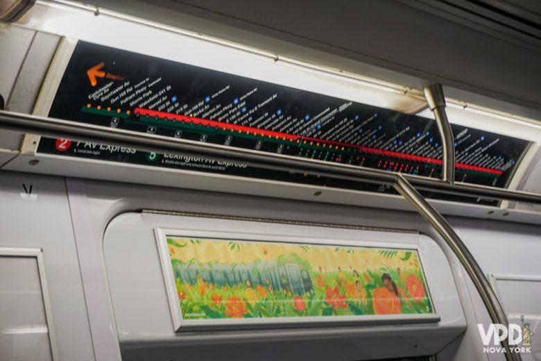 Um dos maiores erros de NY é alugar carro. Foto do interior do metrô de Nova York