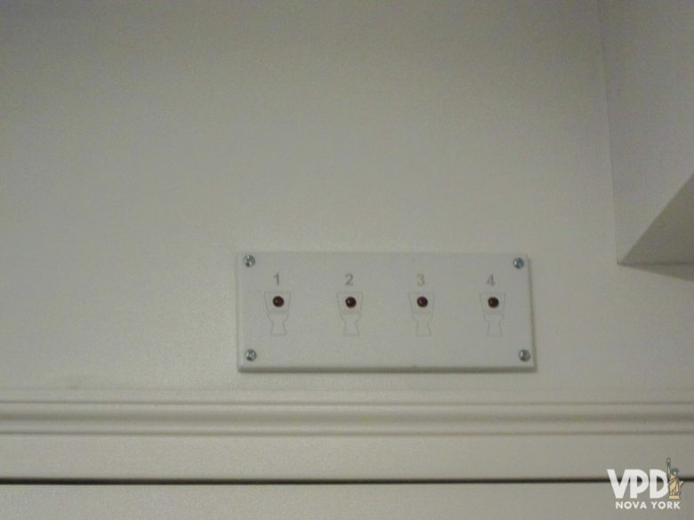 Foto do painel que mostra quantos banheiros estão disponíveis por meio de luzes acesas ou apagadas
