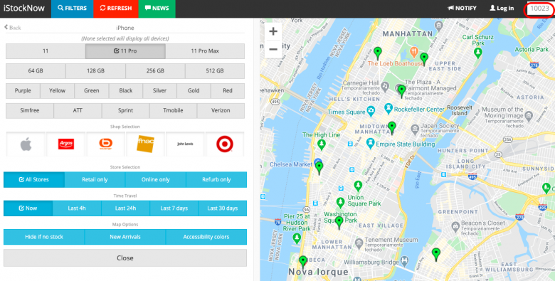 Print do site iStockNow mostrando as lojas com disponibilidade de iPhones em NY
