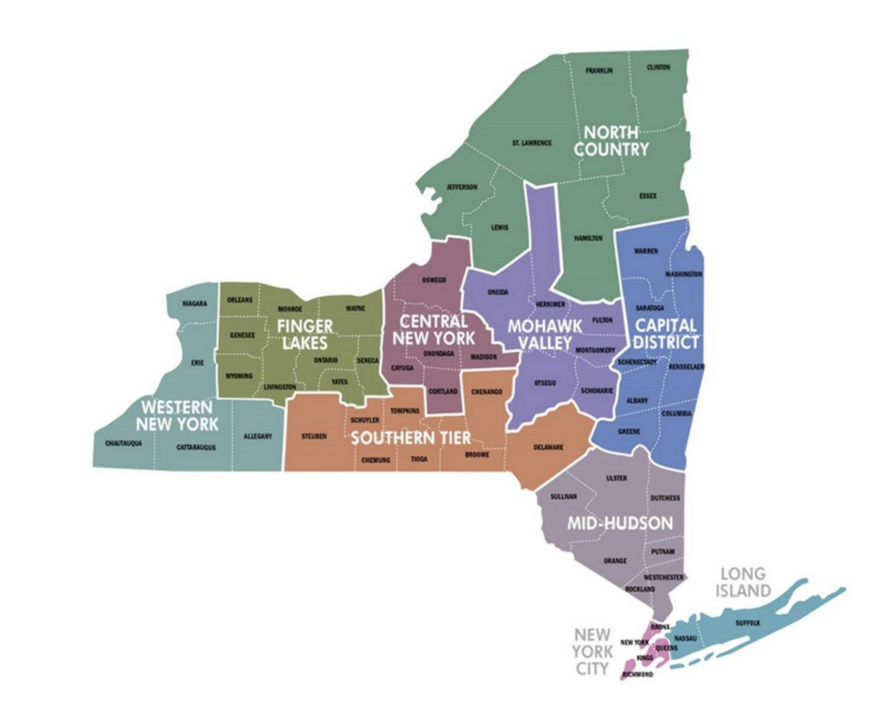 Mapa das regiões do estado de NY, com as 3 que vão avançar de fase no sudeste - New York City, Mid Hudson e Long Island
