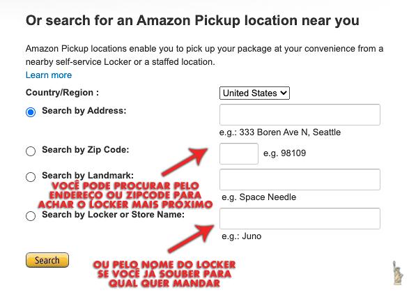 Foto da tela do site. É só colocar o endereço ou zip code para pesquisar os Amazon Lockers mais próximos de você
