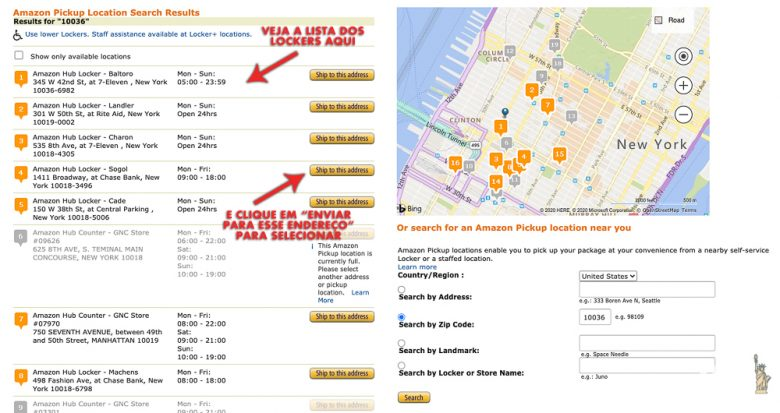"""Foto da tela do site. Todas as opções disponíveis aparecem para você selecionar, é só clicar em """"ship to this address"""""""