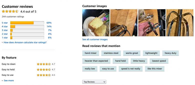 Foto da tela do site na parte de avaliações da Amazon, ótima pra ter uma ideia real do produto