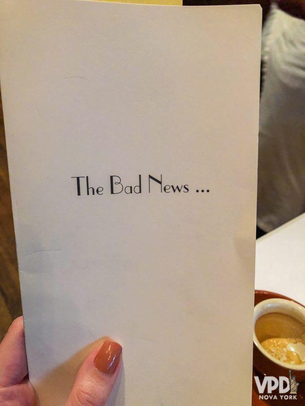 conta de um restaurante de Nova York