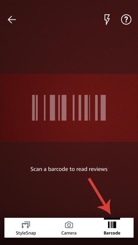 Foto da tela do site. Libere o acesso do aplicativo da Amazon à câmera e clique em barcode para escanear