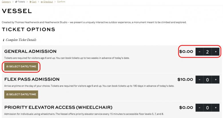 Print do site mostrando como escolher data e horário para os ingressos