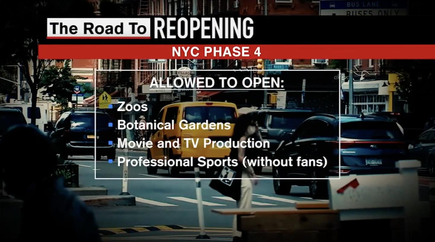 Foto do anúncio de reabertura de estabelecimentos na Fase 4 para a cidade de Nova York