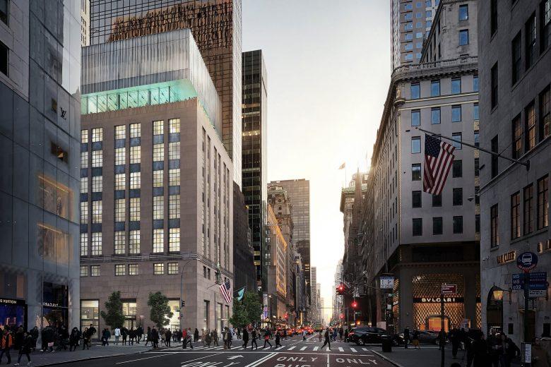 Outra projeção de como vai ficar o prédio da Tiffany & Co. depois da nova adição. Foto: OMA/Bloomimages.de