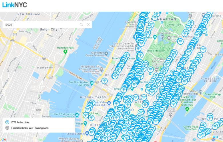 Print do site da LinkNYC com as localizações de totens pra usar a internet do celular.