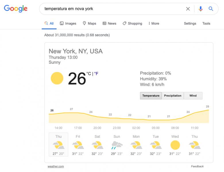 Print do google, mostrando a temperatura em Nova York no momento em que a busca foi feita