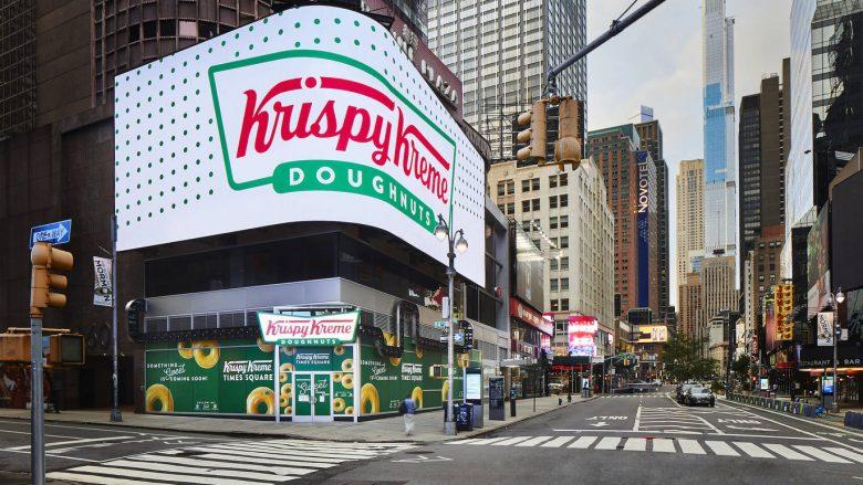 Foto da nova loja conceito da Krispy Kreme, na Times Square. Foto: Divulgação