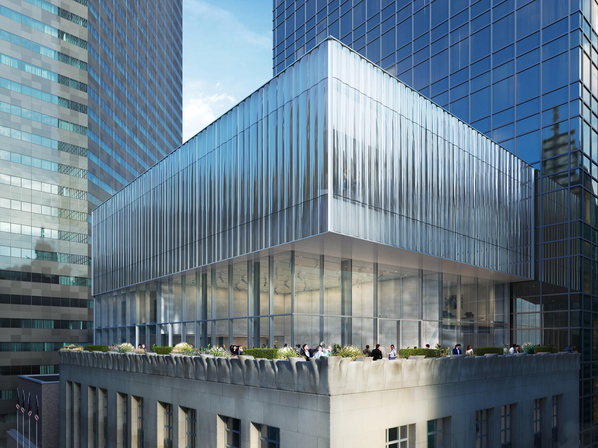 Projeção de como vai ficar o novo rooftop de vidro que será construído no prédio da Tiffany & Co. Foto: OMA/Bloomimages.de