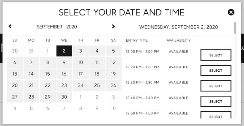 Print do site do Edge, mostrando como escolher data e horário para visitar